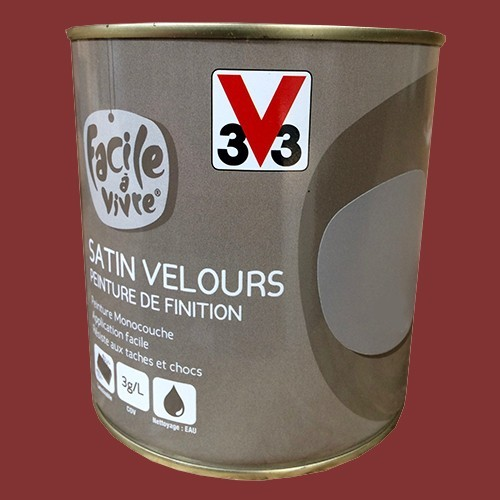 peinture murale et boiserie v33 facile vivre rouge carmin satin velours pas cher en ligne. Black Bedroom Furniture Sets. Home Design Ideas