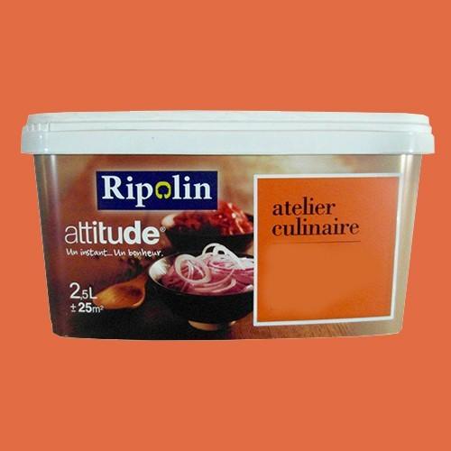 Ripolin peinture attitude atelier culinaire orange sanguine satin 2 5l pas cher en ligne for Peinture couleur mur pas cher