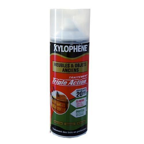 traitement xylophene meubles et objets anciens triple action spray 400ml pas cher en ligne. Black Bedroom Furniture Sets. Home Design Ideas