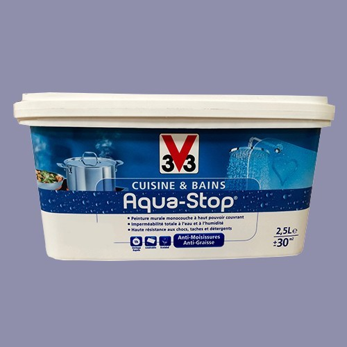 Peinture v33 cuisine et bains aqua stop bleu subtil 2 5l satin pas cher en ligne - Peinture pas cher pour cuisine ...