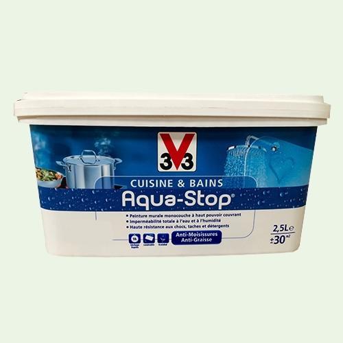 Peinture V33 Cuisine Et Bains Aqua Stop Menthe Givrée 3l Satin Pas