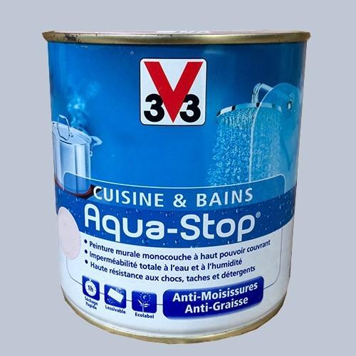 Peinture v33 cuisine et bains aqua stop bleu glacier satin for Peinture pas cher pour cuisine