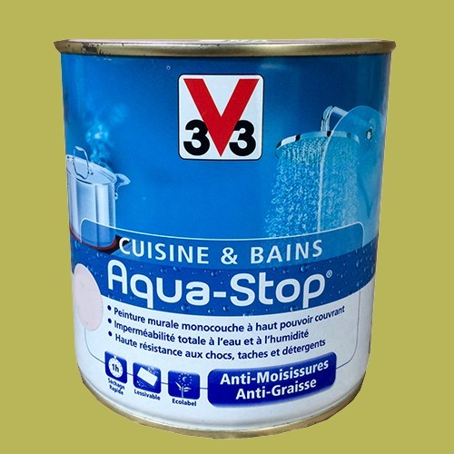 Peinture v33 cuisine et bains aqua stop vert eden 0 5l - Peinture resistant al eau ...