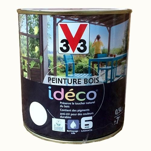 Peinture bois v33 id co blanc coco satin pas cher en ligne for Peinture escalier bois v