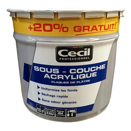 cÉcil sous-couche acrylique plaques de plâtre 12l pas cher en ligne - Peinture Glycero Sur Sous Couche Acrylique