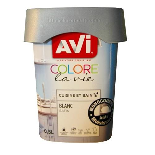 AVI Peinture Cuisine et bain 0,5L Blanc Satin