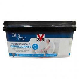 V33 Déco activ' Peinture murale Dépolluante 2,5L Blanc satin
