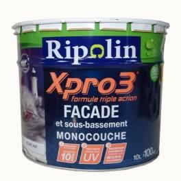 Peinture Façade RIPOLIN Xpro3 triple action Façade et sous-bassement monocouche Blanc 10L