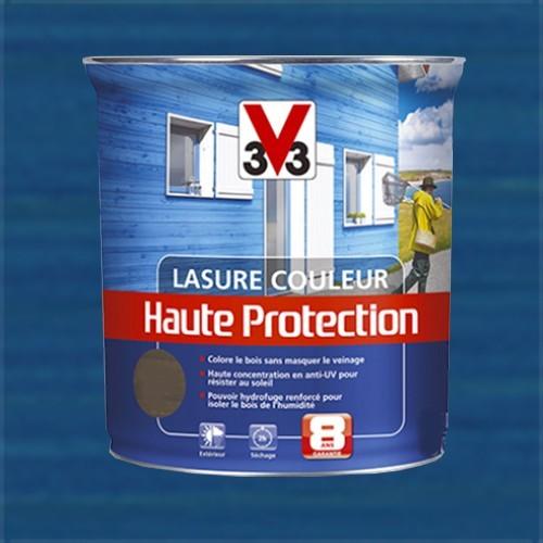 V33 lasure couleur haute protection 8ans bleu breton pas - Lasure de couleur pour bois exterieur ...