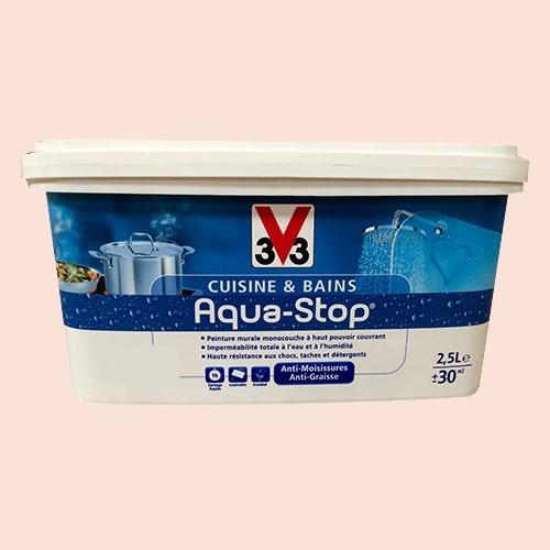 Peinture v33 cuisine et bains aqua stop rose givr 2 5l satin pas cher en ligne for Peinture cuisine et bain