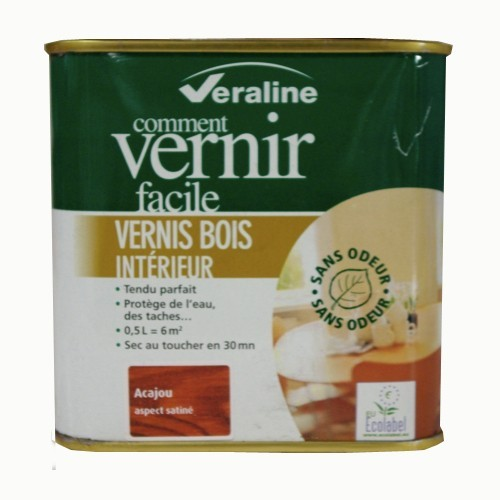 Vernis veraline bois int rieur acajou satin 0 5l pas cher for Peinture vernis bois