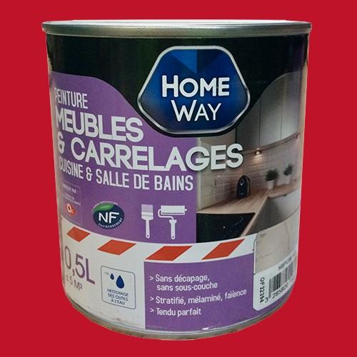 Oxi home way peinture meubles carrelages rouge rubis pas - Peinture meuble pas cher ...