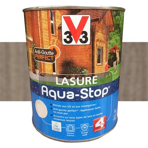V33 lasure aqua stop 4ans anti goutte bois gris pas cher en ligne - Lasure brico depot ...
