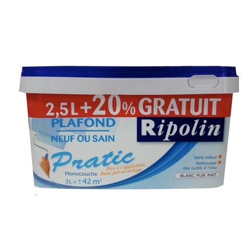 Peinture ripolin pratic plafond neuf ou sain blanc pur mat for Peinture mur blanc mat ou satin