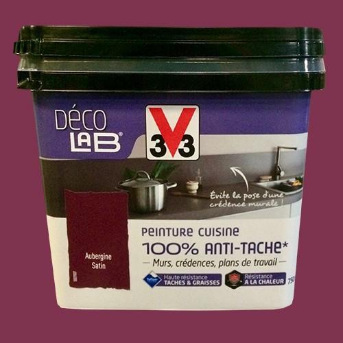 V33 Déco LAB Peinture Cuisine 100% Anti-Tâche Aubergine