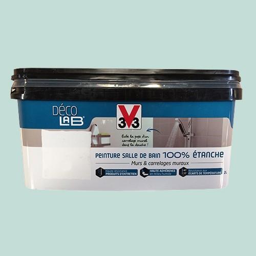 V33 d co lab peinture salle de bain 100 etanche bleu embrun pas cher en ligne - Peinture salle de bain pas cher ...