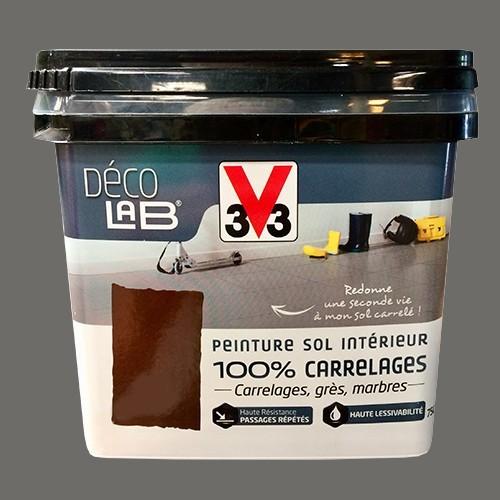 V33 Déco LAB Peinture Sol Intérieur 100% Carrelages Gris fumé