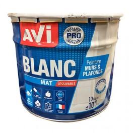 AVI Murs et plafonds Qualité Professionnelle Blanc Mat 10L