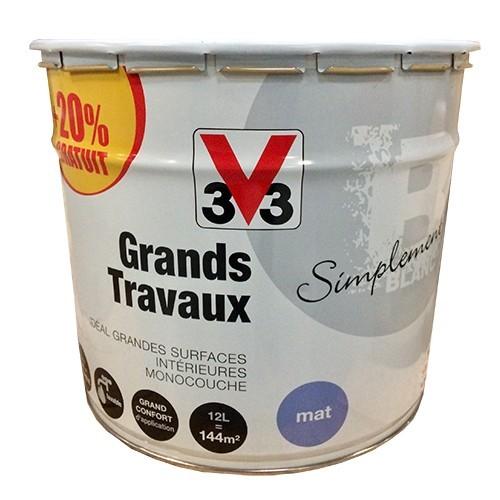 V33 Peinture Acrylique Grands Travaux 12L Blanc Mat