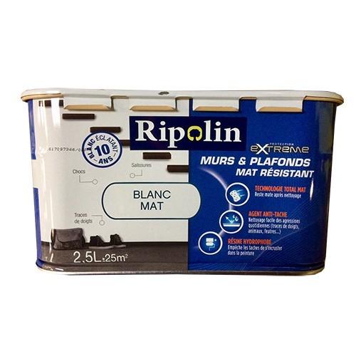 RIPOLIN Protection Extrême Murs & Plafonds Mat Résistant Blanc mat