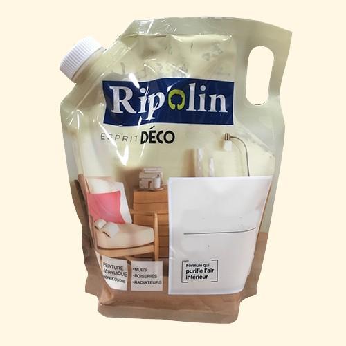 """RIPOLIN Poche de Peinture Acrylique """"Esprit Déco"""" 1L Crème satin"""
