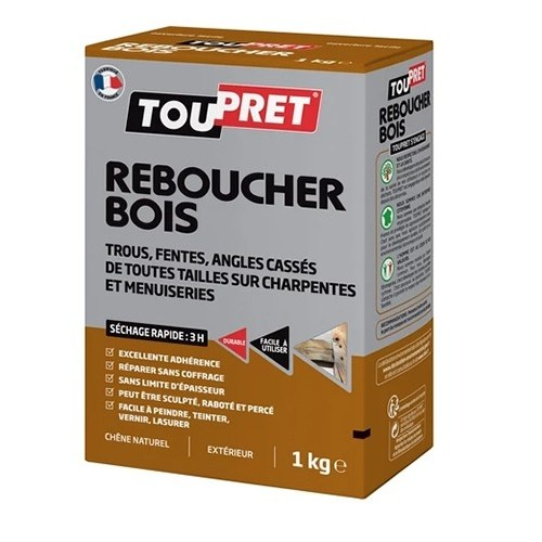TOUPRET Enduit Reboucher Bois 1 kg Chêne naturel (poudre)