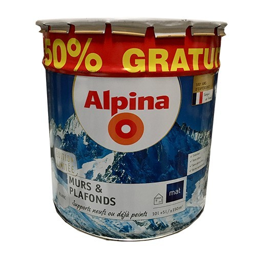 ALPINA Peinture Murs & Plafonds 15L Blanc Mat