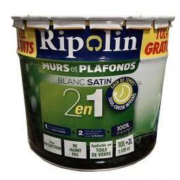 Ripolin Peinture Murs Et Plafonds 2en1 Blanc Satin 12l