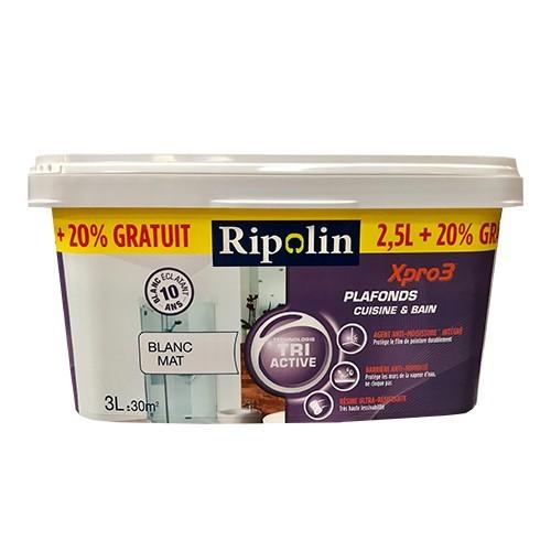 RIPOLIN Peinture XPro3 Plafonds Cuisine & Bain Blanc Mat
