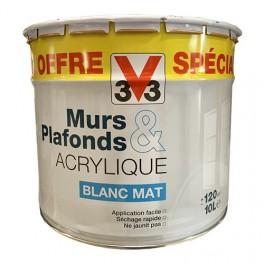 V33 Peinture Murs & Plafonds Acrylique Blanc Mat 10L