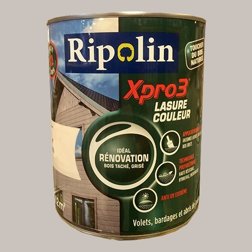 RIPOLIN Lasure Opaque XPro3 Rénovation Gris bouleau