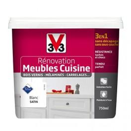V33 Rénovation Meubles Cuisine (Bois vernis-Mélaminés-Stratifiés) Satin Blanc