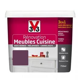 V33 Rénovation Meubles Cuisine (Bois vernis-Mélaminés-Stratifiés) Satin Cassis