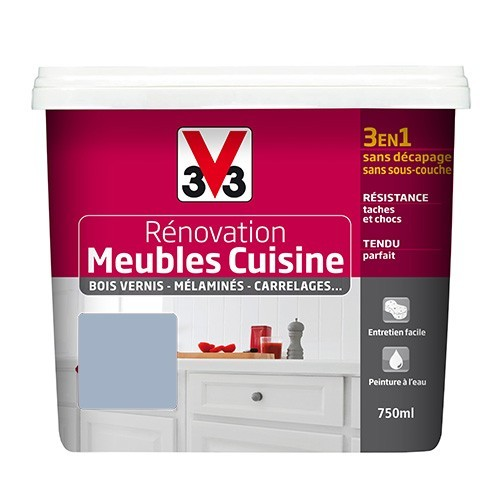 V33 Rénovation Meubles Cuisine (Bois vernis-Mélaminés-Stratifiés) Satin Bleu de lin