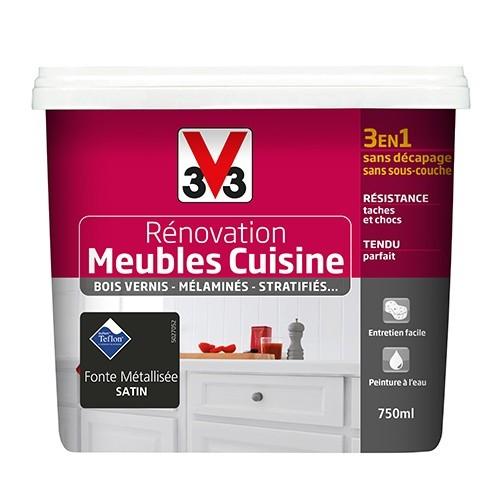 V33 Rénovation Meubles Cuisine (Bois vernis-Mélaminés-Stratifiés) Satin fonte métallisée