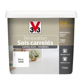 Peinture V33 Rénovation Sols Carrelés (Carrelages - Marbres) 2 en 1 Satin  Blanc