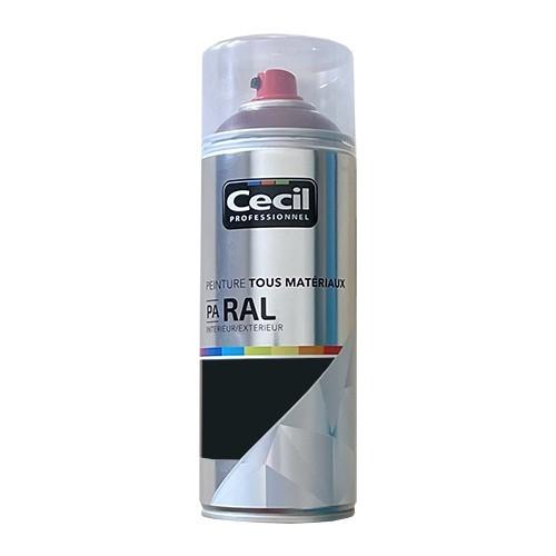 Peinture Aérosol Tous matériaux Cécil Professionnel PA RAL Gris noir satin (RAL 7021)