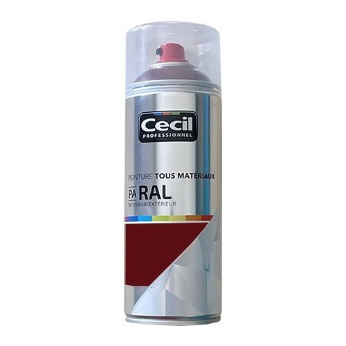 Peinture Aérosol Tous matériaux Cécil Proffessionnel PA RAL Rouge Basque satin (RAL 3004)