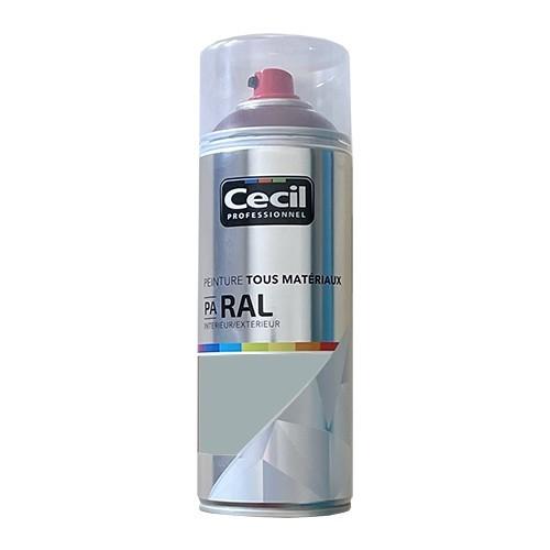 Peinture Aérosol Tous matériaux Cécil Professionnel PA RAL Gris clair satin (RAL 9006)