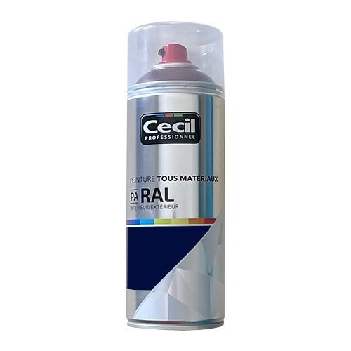 Peinture Aérosol Tous matériaux Cécil Professionnel PA RAL Bleu saphir satin (RAL 5003)