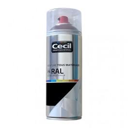 Peinture Aérosol Tous matériaux Cécil Professionnel PA RAL Noir satin (RAL 9005)