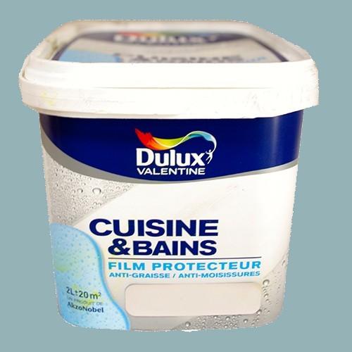 Dulux valentine peinture acrylique cuisine et salle de bains bleu acier satin 2l pas cher en ligne for Peinture pour cuisine et salle de bain