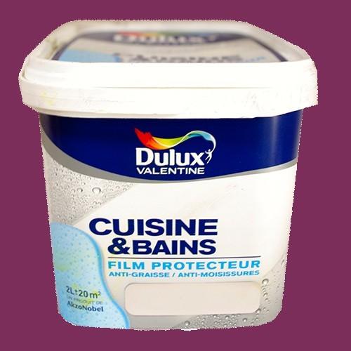 DULUX VALENTINE Peinture Acrylique Cuisine et Salle de Bains Crème de cassis Satin 2L