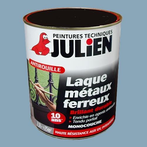 Peinture julien antirouille laque m taux ferreux bleu zinc brillant 2 5l pas cher en ligne for Peinture effet zinc