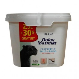 DULUX VALENTINE Cuisine et Salle de Bains Blanc Satin 3,25L