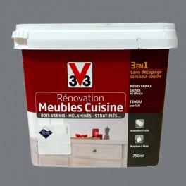 V33 Rénovation Meubles Cuisine (Bois vernis-Mélaminés-Stratifiés) Brillant Carbonate