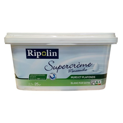 Peinture murs et plafonds Ripolin Supercrème Blanc Satin