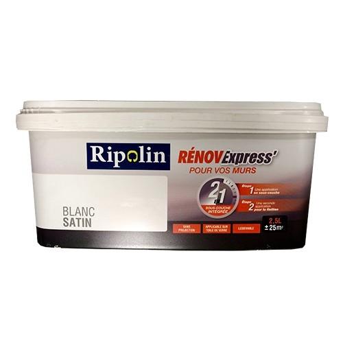 ripolin peinture r nov express blanc satin 2 5 l pas. Black Bedroom Furniture Sets. Home Design Ideas